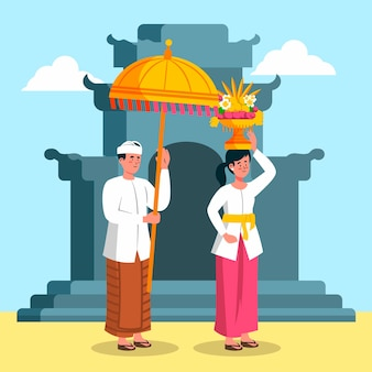 Nyepi illustration with people and umbrella