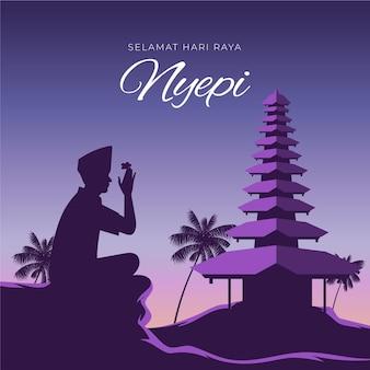 Nyepi illustration with silhouette meditating