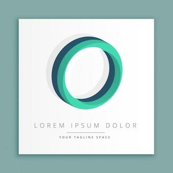 文字のoと3d抽象的なスタイルのロゴ