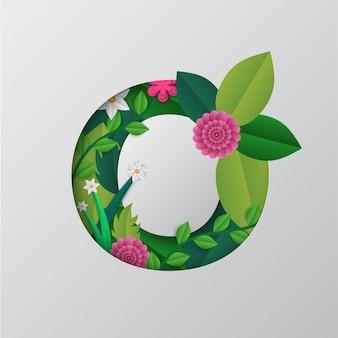 회색 바탕에 아름 다운 꽃 디자인을 가진 o 알파벳입니다.