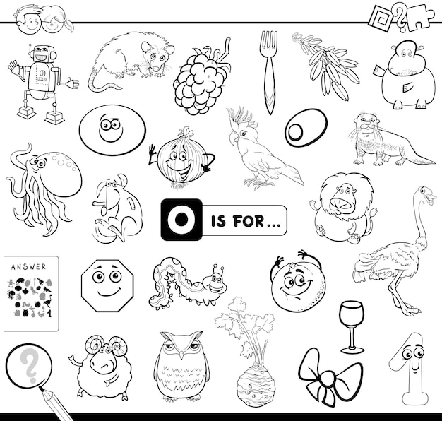 O is for educational game coloring book