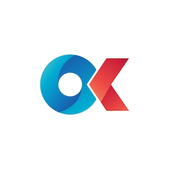 O and k logo vector