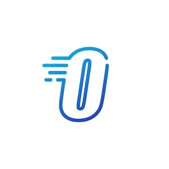 O letter dash fast quick digital mark line outline logo vector icon illustration
