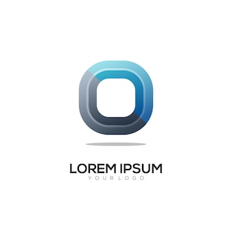 O письмо логотип инициалы красочный градиент аннотация