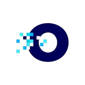 O 문자 픽셀 마크 디지털 8 비트 로고 벡터 아이콘 그림