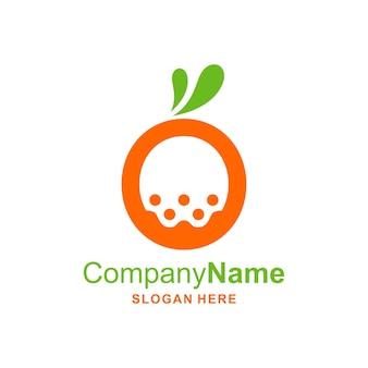 Oユニークな形のロゴのベクトルアイコンテンプレートイラストとオレンジ色のイラスト