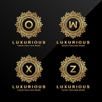 O, w, x, z логотип роскошных букв