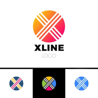 サークル、レターo、x.抽象的なミニマルロゴデザイン