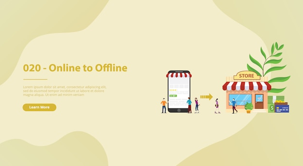 O2o online to offline e-commerce for website template landing homepage