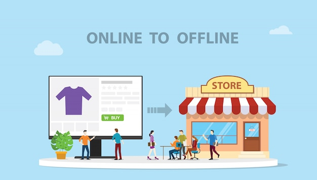 O2o онлайн и оффлайн электронная коммерция новая концепция технологии с магазином и веб-сайтом онлайн