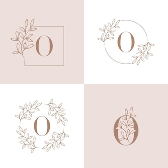 蘭の葉の要素を持つ文字oロゴデザイン