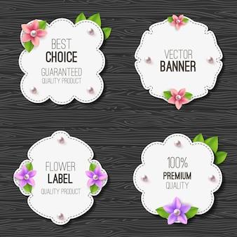 花、真珠と葉のバナーoステッカーセットとバナーのセット