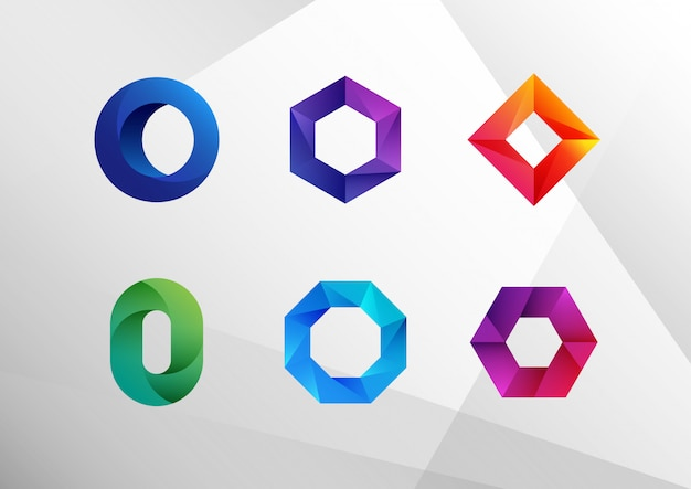 抽象的なグラデーションoロゴコレクション