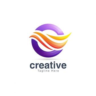 抽象的な創造的な活気のある手紙oロゴデザインテンプレート