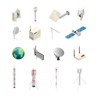 Изометрические иконки набор беспроводного оборудования связи, как башни, спутниковые антенны, маршрутизатор и o