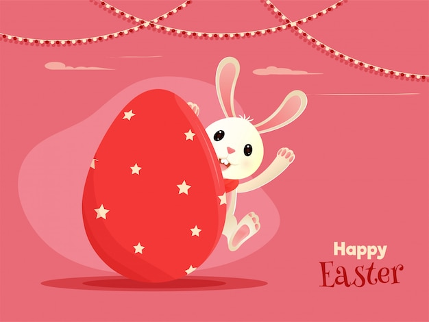 テキストoと卵の中に隠れているかわいいウサギの漫画のキャラクター