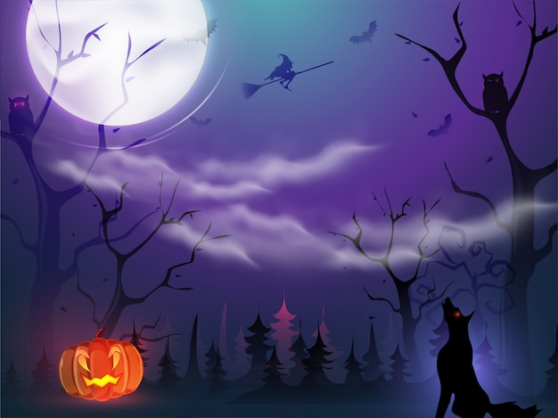 不気味なジャック-o-ランタン、魔女の飛行ほうき、フクロウ、コウモリ、ハロウィーンの夜の叫び狼と満月の森の眺め。