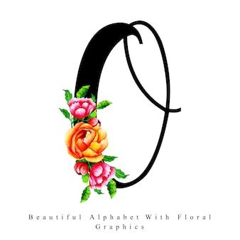 アルファベットの手紙o水彩の花の背景