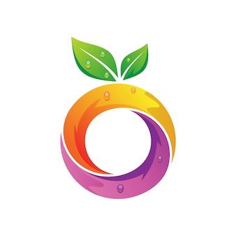 手紙oフルーツロゴデザイン