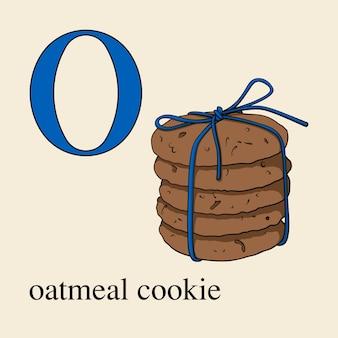オートミールクッキーとoの文字。お菓子と英語のアルファベット。