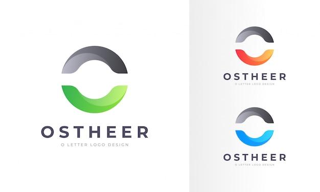 プロのモダンな丸みを帯びたo文字ロゴデザインテンプレート