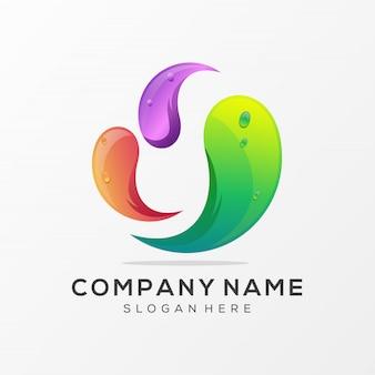 Буква o дизайн логотипа премиум вектор