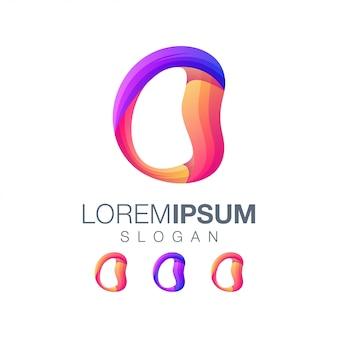 Буква o градиент цвета логотипа дизайн вектор