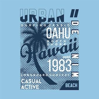 Оаху гавайи тропическое лето океан приключение неограниченное типография футболка графика s