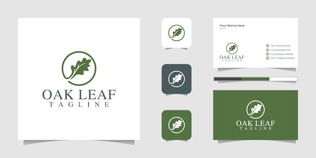 Логотип дубового листа и вдохновение визитной карточки