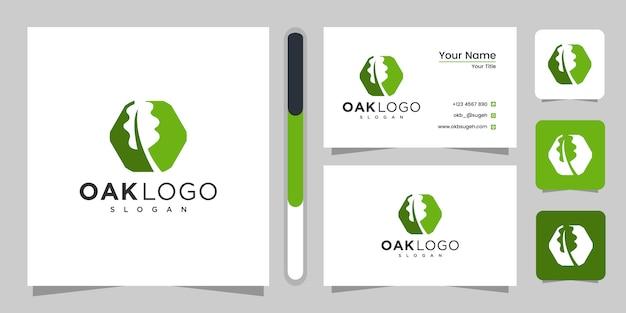オークの葉のロゴのテンプレートデザインと名刺