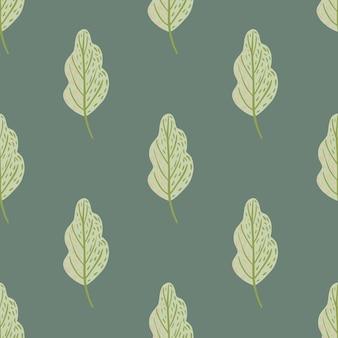 Дубовый лист бледно бесшовные модели в простом стиле рисованной. зеленая листва