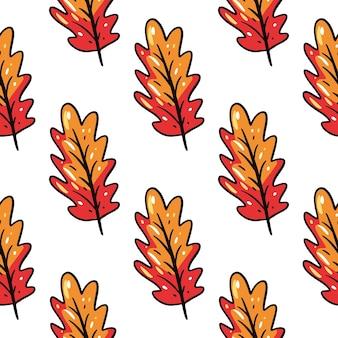 오크 잎 완벽 한 패턴입니다. 손으로 그린