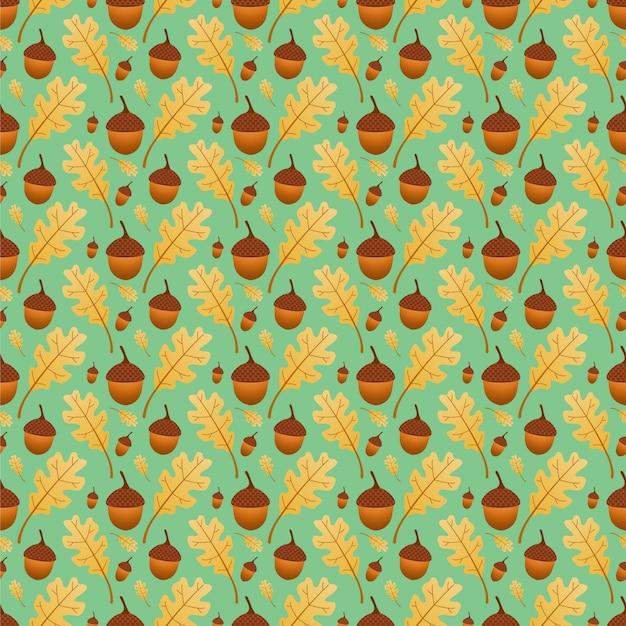 Oak leaves and acorn seamless pattern