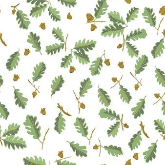 Oak leaves botanical seamless pattern