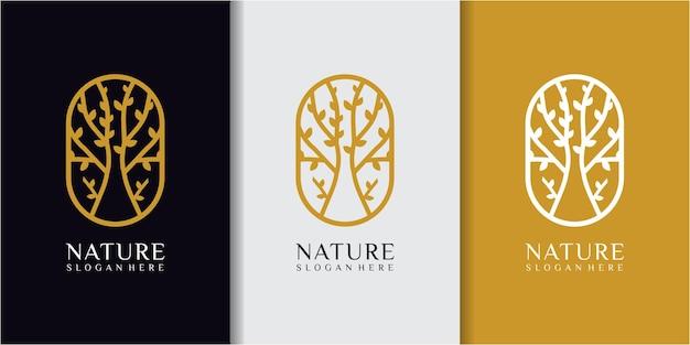 Дубовое вдохновение для дизайна логотипа. шаблон дизайна логотипа линии дерева. дизайн логотипа природы