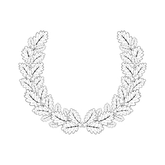 오크 화환. 조각 스타일로 만든 둥근 프레임에 오크 가지의 벡터 그림.