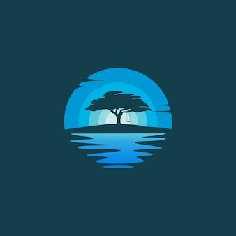 夜の風景のロゴデザインイラストのオークツリーシルエット