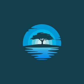 Oaktree silhouette in the night landscape logo design illustration
