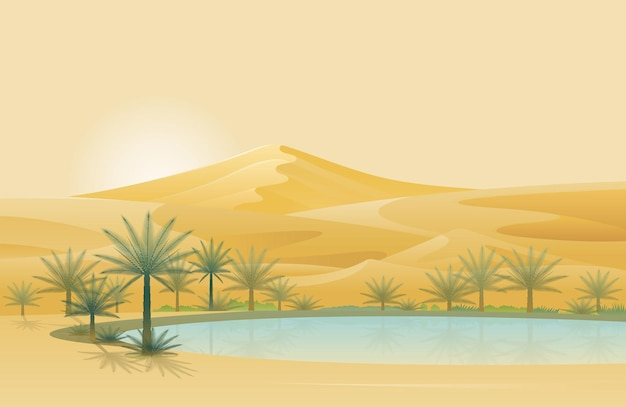 오아시스와 사막 풍경 배경
