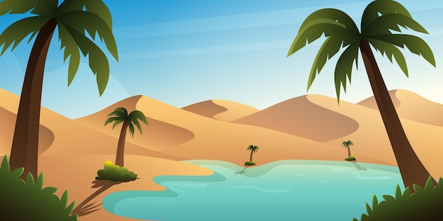 Oasis background illustration in the middle of the desert