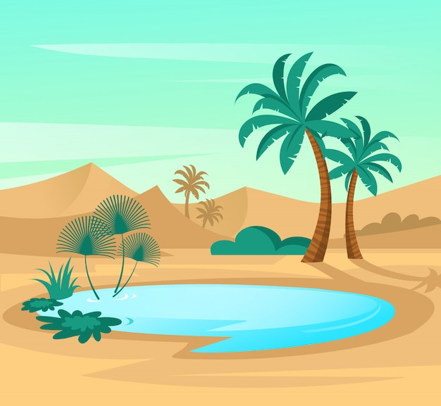 Oasis in desert. landscape scene with sand dunes, blue lake and palms.
