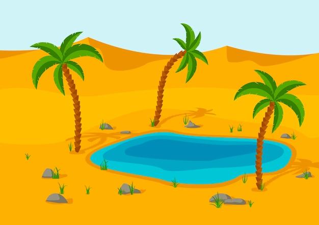 砂漠のオアシス、湖、ヤシ。砂丘砂漠の風景。美しい自然の風景。