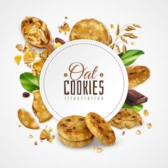 Овсяное печенье обрамляет иллюстрацию украшенными зелеными листьями мяты и кусочком шоколада реалистичной иллюстрации