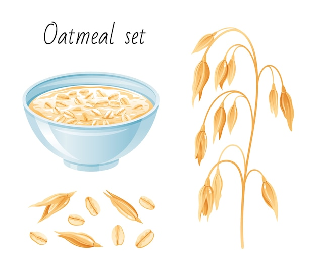 Oat meal set. bowl, oatmeal ear flake. breakfast cup with oat grain porridge, muesli, seed. cartoon style.