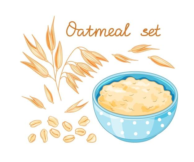 Oat meal set. cartoon style for healthy food design. bowl, oatmeal ear amp flake.