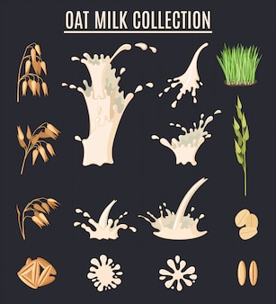 Oat milk collection. organic vegetarian food. healthy lifestyle set.