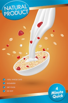 Oatmeal ad, with milk splashing and mixed berries, 3d illustration