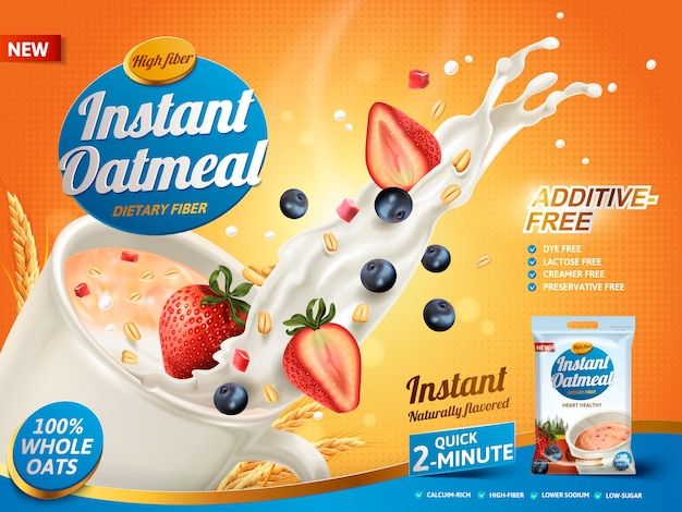Oatmeal ad, with milk splashing and mixed berries