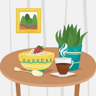 Oatmeal in a bowl with a cup of coffee and a potted plant. flat illustration. home interior.