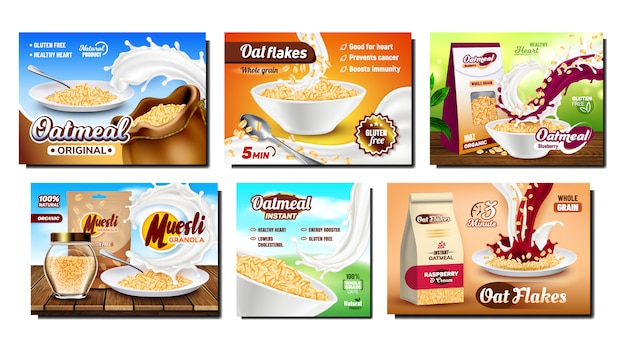Oatmeal breakfast promotional advertising set